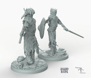Draugr King - Barrow Wight - Wargaming Miniatures Monster Asgard Rising D&D DnD Pathfinder Undead Skeleton Warhammer