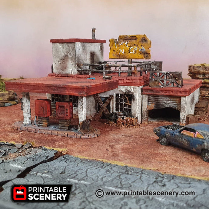 Derelict Gas Station - 28mm 20mm 32mm Brave New Worlds Wasteworld Gaslands Terrain D&D DnD Pathfinder Warhammer 40k