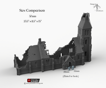 Load image into Gallery viewer, Ruined Medieval Church - 15mm 28mm 32mm 37mm Time Warp Wargaming Terrain Scatter D&D, DnD, Pathfinder, Warhammer, 40k
