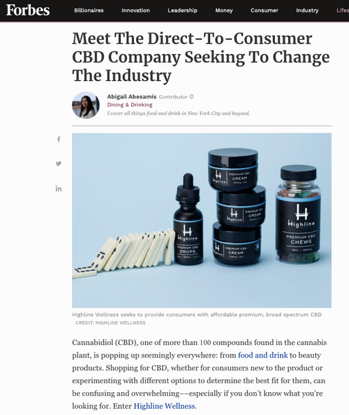 Forbes: Meet The Direct-To-Consumer CBD Company Seeking To Change The Industry