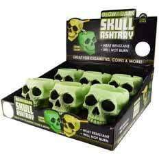 Glow In the Dark Skull Ashtray - 6 Unit Display Smoke/Vape Shop Quikfillrx