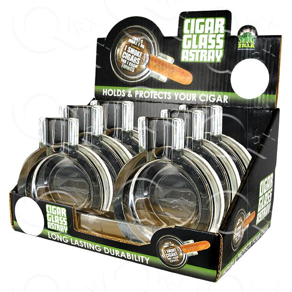 Cigar Glass Ashtray - 6 Unit Display Smoke/Vape Shop Quikfillrx