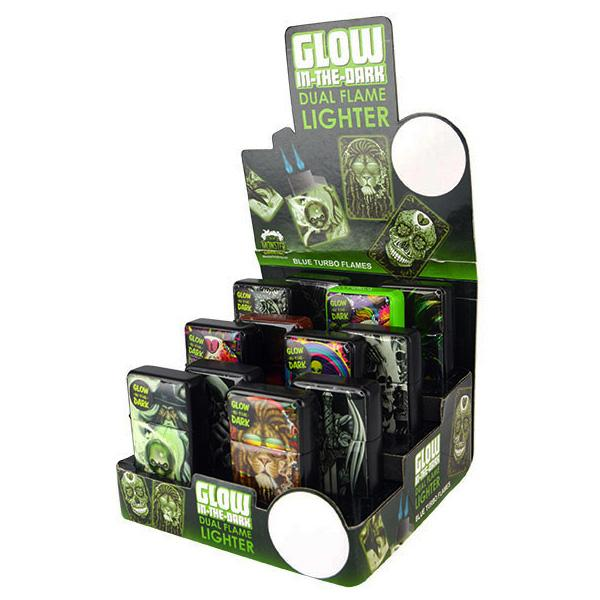 Glow In the Dark Torch Lighter - 12 Unit Display