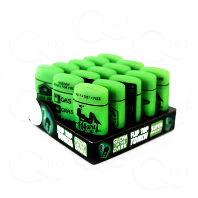 Glow In the Dark Flip Top Torch Lighter - 15 Unit Display Smoke/Vape Shop Quikfillrx