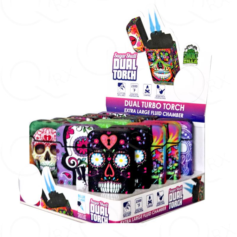 Sugar Skull Dual Torch - 12 Unit Display Smoke/Vape Shop Quikfillrx