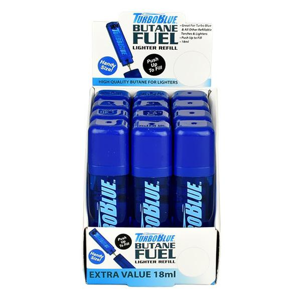 TurboBlue Butane Fuel 18 mL - 12 Unit Display Smoke/Vape Shop Quikfillrx