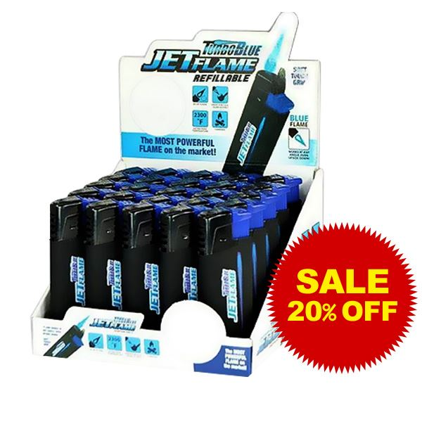 TurboBlue Jet Flame Refillable Torch - 25 Unit Display Smoke/Vape Shop Quikfillrx