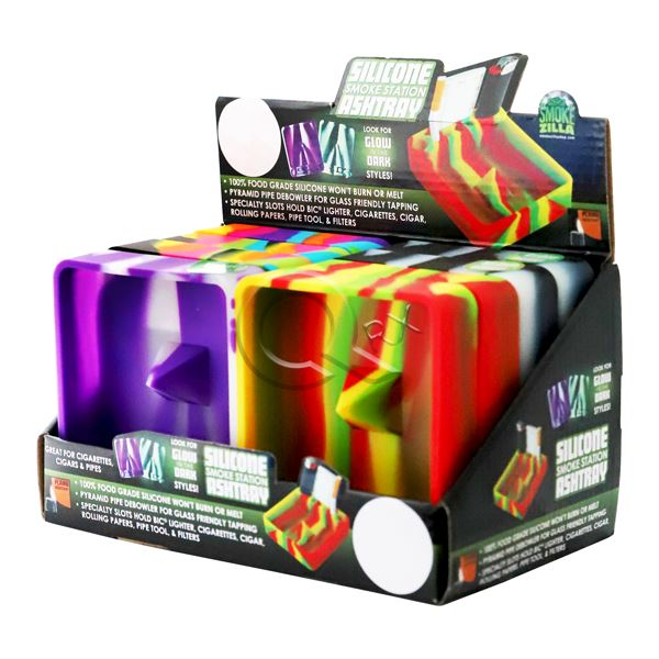 Glow In the Dark Silicone Flame Resistant Square Ashtray - 8 Unit Display