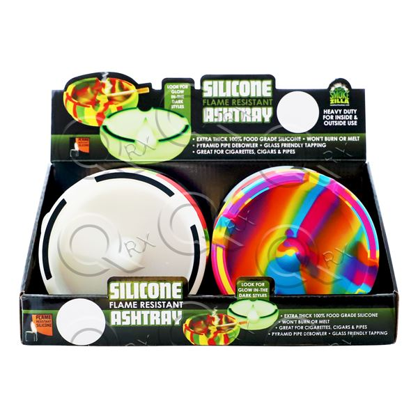 Glow In the Dark Silicone Flame Resistant Ashtray - 6 Unit Display