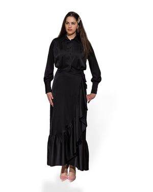Long Sleeve Ruffle Maxi Dress - Black