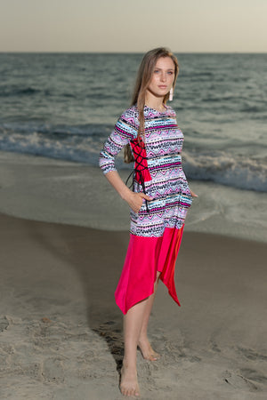 Modest 3/4 sleeve swim dress