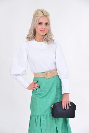 Beckie Puffy Sleeve White Shirt