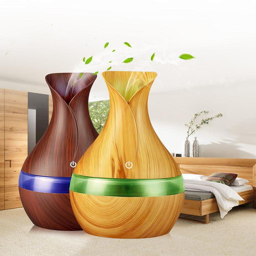 300ml Wood Grain Essential Oil Diffuser - Ultrasonic Air Humidifier & Aromatherapy - 7 LED Colors