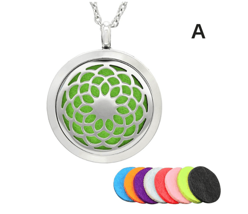 Aromatherapy Essential Oil Diffuser Stainless Steel Necklace with Round Locket Pendant