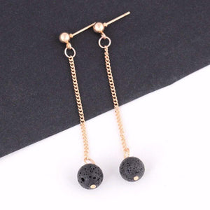 Black Lava Stone Essential Oil Diffuser Earrings