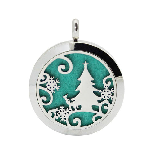 Christmas Locket Necklace  with Aromatherapy Fragrance Essential Diffuser Pendant