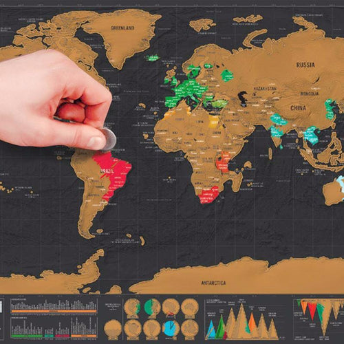 Deluxe Black Scratch Off World Map Poster
