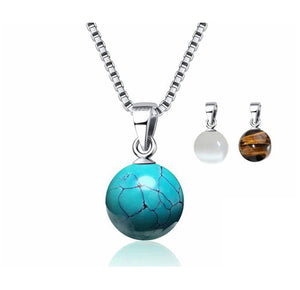 Silver Necklace & Natural Turquoise Stone Pendant