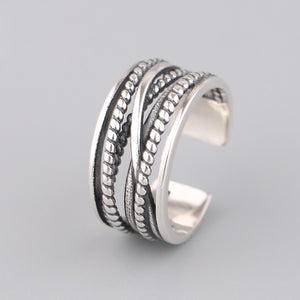 925 Sterling Silver Adjustable Multi Layer Ring