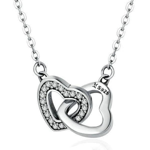 925 Sterling Silver Connected Heart Pendant Necklace