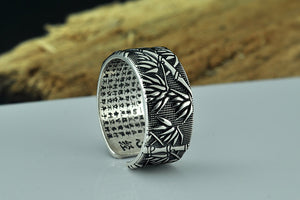 Silver Bamboo Buddha Adjustable Ring For Men