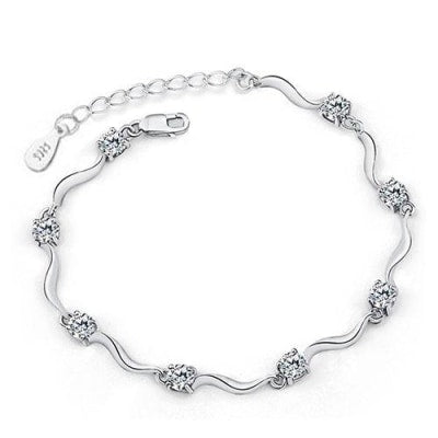925 sterling Silver Coated Chain & Link Bracelet