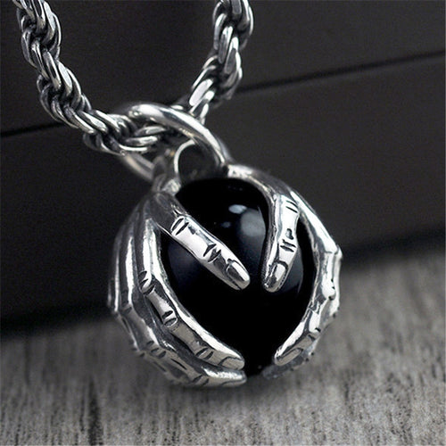 Sterling Silver Hands holding Black Stone Pendant for Men