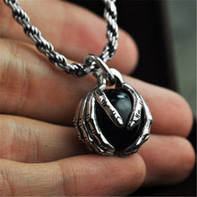 Load image into Gallery viewer, Sterling Silver Hands holding Black Stone Pendant for Men