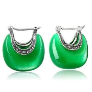 925 Sterling Silver Green Moon Opal Stone Drop Earrings
