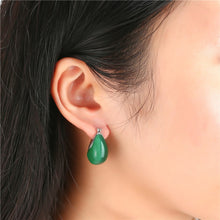 Load image into Gallery viewer, 925 Sterling Silver Green Moon Opal Stone Drop Earrings