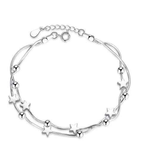 Five Pointed Square Round Beads Silver Bracelet