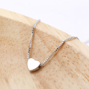 Silver Tiny Heart Pendant Necklace