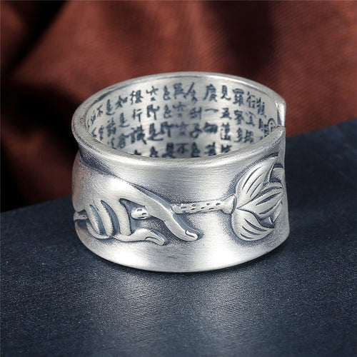 Silver Hand & Lotus flower Buddhist Mantra Ring For Men