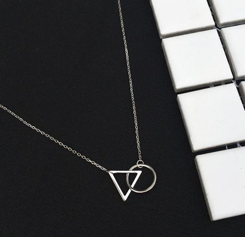 Minimalist Triangle and Round Shaped Pendant and Necklace