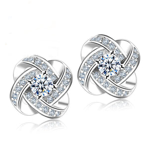 Silver Knot Flower Crystal Stud Earrings