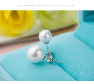 White Shell Pearls Silver Stud Earrings