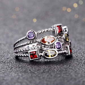 Vintage Gemstone Sterling Silver Ring