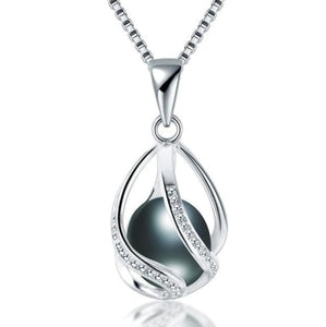 Natural freshwater Pearl Silver Pendant Necklace