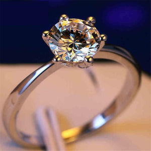Cubic Zirconia Silver Diamond Wedding Ring
