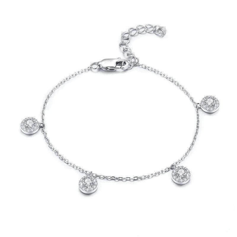 925 Sterling Silver Round Circle Dazzling Crystal Bracelet