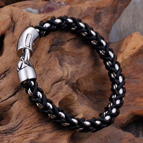 Silver Titanium Steel Byzantine Weave Black Leather Bracelet For Men