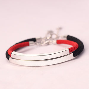 Couple Rope & 925 Sterling Silver Bracelets