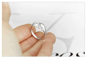 925 Sterling Silver  Double Dolphin Adjustable Love Ring