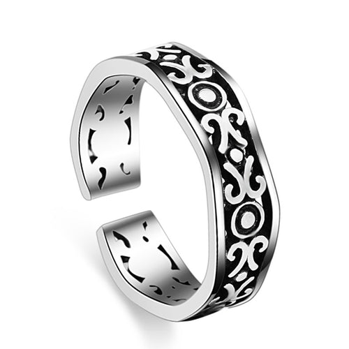 925 Sterling Silver Adjustable Twist Rope Ring