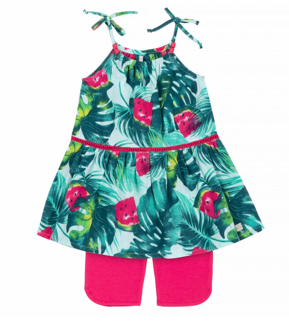 Deux par Deux Watermelon Swing Top & Short Set