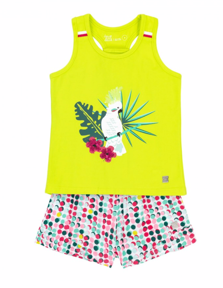 Deux par Deux Green Cockatoo Short & Top Set