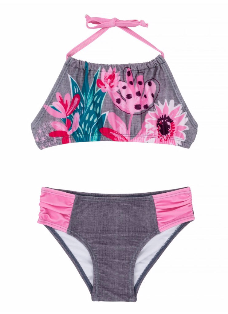 Deux par Deux Girls Flower Two Piece Swimsuit