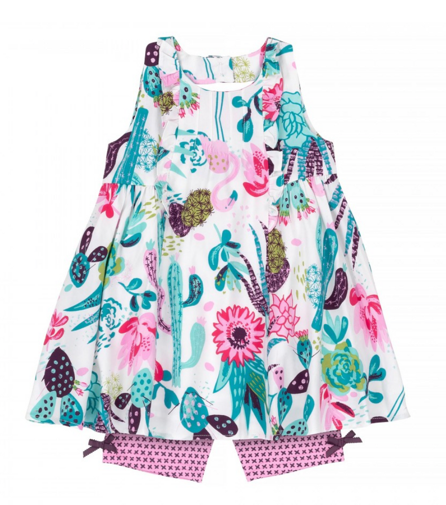 Deux par Deux Cactus Print Girls Tunic & Biker Short Set