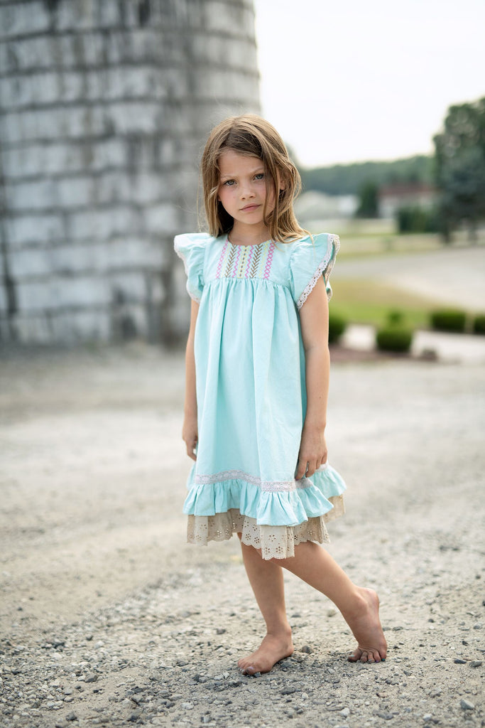 Little Prim Aqua Clara Dress