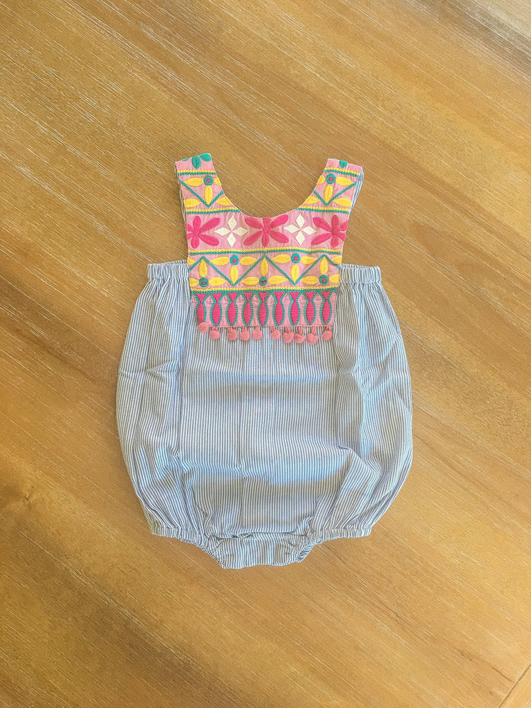 Cheeni Layla Gray Stripe Banjara Baby Dress